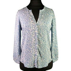 Joie Long Sleeve Blue Leopard Camo Print Blouse